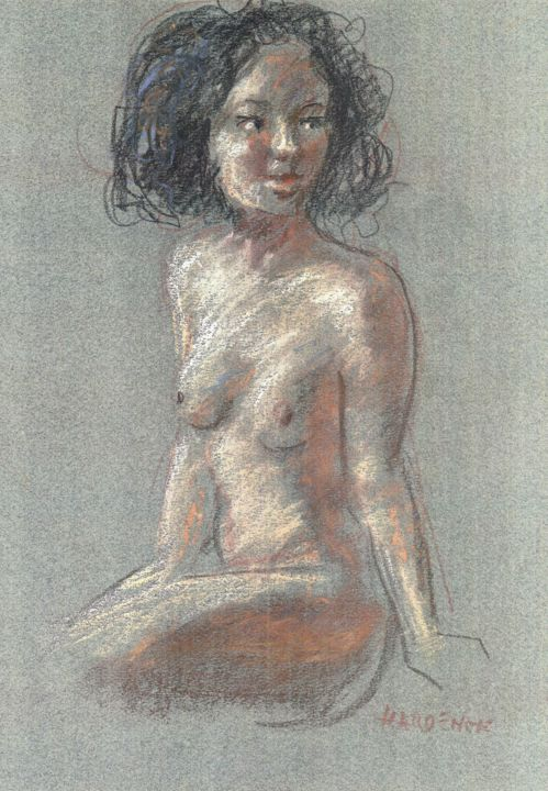 modèle - Drawing,  16.5x11.8 in, ©2019 by Claude Hardenne -