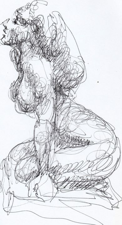 dessin d'après Rodin - Drawing,  11.8x6.3 in, ©2019 by Claude Hardenne -