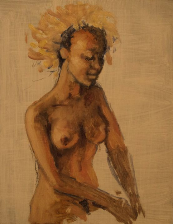 Africaine - Painting,  19.7x15.8 in, ©2020 by Claude Hardenne -