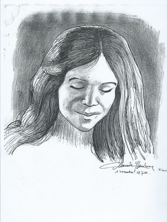 Jeune fille - Drawing, ©2020 by Claude Hardenne -