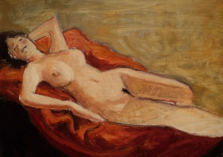 POSE - Painting,  18.5x23.6 in, ©2020 by Claude Hardenne -