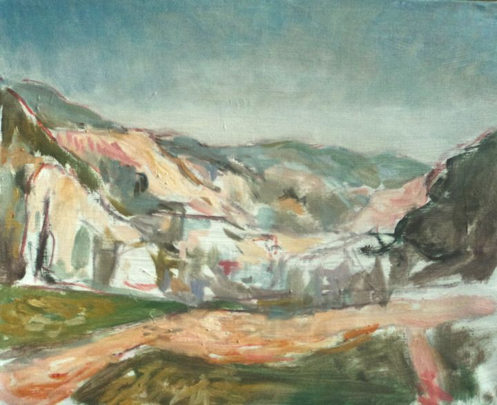 Ardèche (1re esquisse) - Painting, ©2020 by Claude Hardenne -