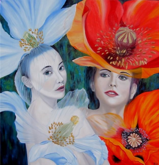 Painting,  100 x 100 cm ©2012 by ALIX -  Painting, Symbolism, blue poppys flower portrait woman himalaya red ladies pavot bleu rouge