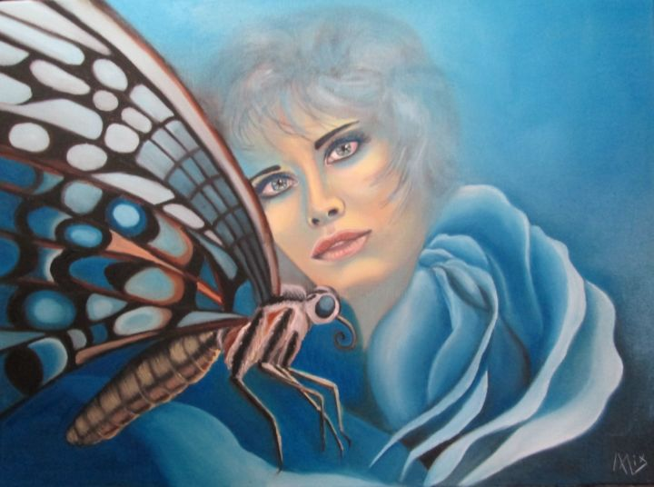 Blue Therapy - Painting,  19.7x24 in, ©2016 by ALIX -                                                                                                                                                                                                                                                                                                              Symbolism, symbolism-1020, femme, papillon, bleu, portrait