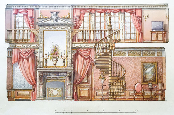 The Sketch Of An Interior In Red No. 1 - © 1999 watercolor, architecture, drawings, original, interior, pen and ink drawings Online Artworks