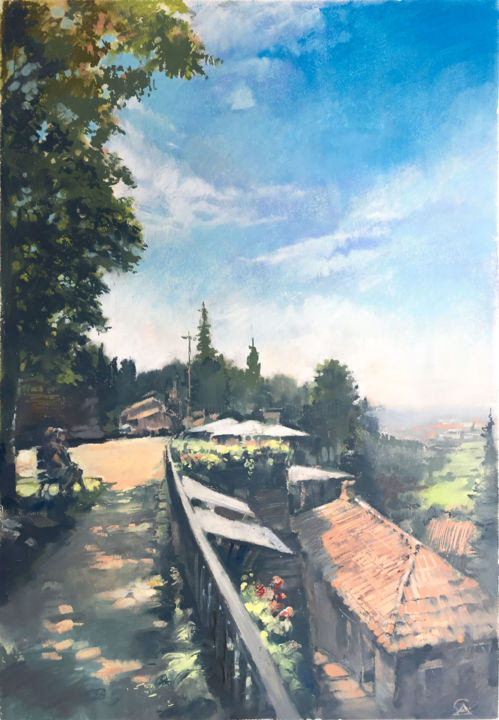 Midday In Bergamo - Painting,  24.4x16.9 in, ©2019 by Andrey Svistunov -                                                                                                                                                                                                                                                                                                                                                                                                                                                                                                                                                                                                                                                                                                                              Impressionism, impressionism-603, Colors, Landscape, Light, Nature, Travel, midday, landscape, oil, pastel, italy, bergamo, fineart, sun