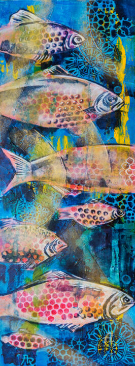 Fishes in sea - Painting,  31.5x11.8x0.8 in, ©2019 by Ariadna De Raadt -                                                                                                                                                                                                                                                                                                                                                                                                                                                                                                                                                                                                                                                                                                                                                                              Abstract, abstract-570, Canvas, Wood, Animals, Fish, Nature, Seasons, Water, fish, water, ocean, nature, ecological, season, sea
