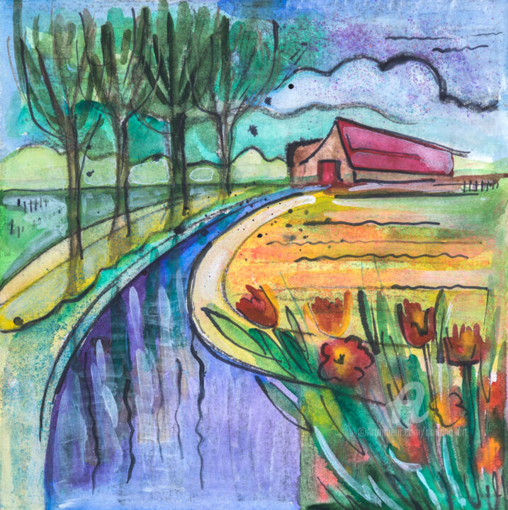 Small Holland 1 - Painting,  11.8x11.8x0.8 in, ©2017 by Ariadna De Raadt -                                                                                                                                                                                                                                                                                                                                                                                                                                                                                                                                                                                                                                                                                                                                                                                                                                                                                                                                  nature, street, graphic, spring, countryside, art, illustration, style, country, city, season, forest, farm, contemporary, painting, europe, village, ink, watercolor, holland