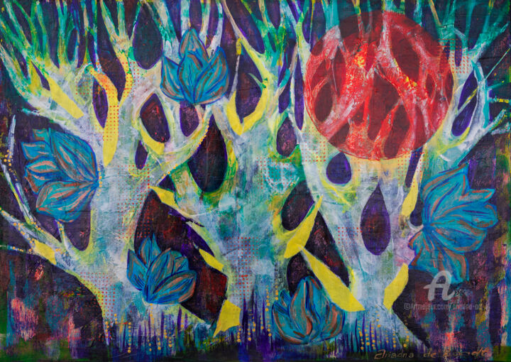Mystic Forest - Painting,  19.7x27.6x0.8 in, ©2018 by Ariadna De Raadt -                                                                                                                                                                                                                                                                                                                                                                                                                                                                                                                                                                                                                                                                                                                                                                          Abstract, abstract-570, Fairytales, Garden, Landscape, Nature, forest, night, moon, myth, nature, season, story, tree, tries, twilight