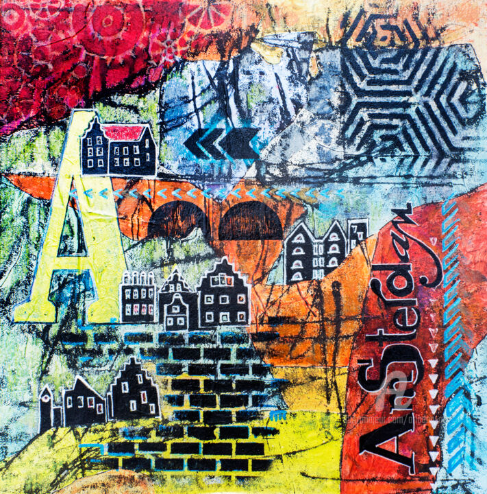 Art Amsterdam - Painting,  35x35x0.6 cm ©2019 by Ariadna De Raadt -                                                                                                                                Abstract Expressionism, Art Deco, Contemporary painting, Illustration, Abstract Art, Calligraphy, Cityscape, Landscape, Typography, typography, city, Amsterdam, netherlands, illustration, houses, abstract, season, texture, holland, decorative