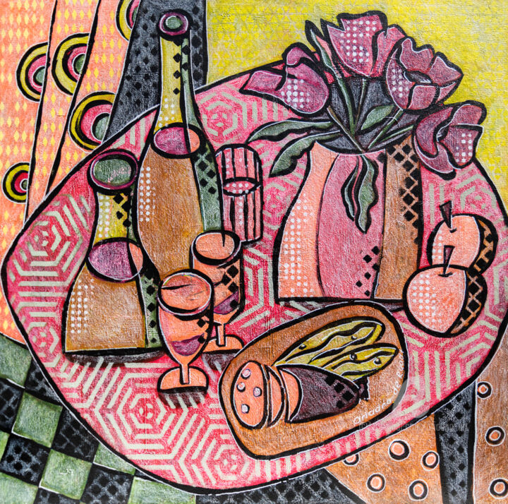 Nice Day 1, still life - Painting,  15.8x15.8x0.3 in, ©2019 by Ariadna De Raadt -                                                                                                                                                                                                                                                                                                                                                                                                                                                                                                                                                                                                                                                                                                                                                                          Illustration, illustration-600, Cuisine, Food & Drink, Still life, drink, bottles, wine, alcohol, food, sneck, party, home, cafe, restaurant, snack