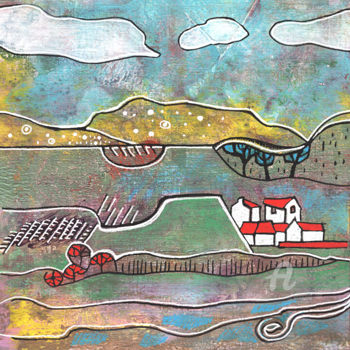 Original seasonal landscape 13 - Painting,  11.8x11.8x0.1 in, ©2020 by Ariadna De Raadt -                                                                                                                                                                                                                                                                                                                                                                                                                                                                                                                                                                                                                                                                                                                                                                                                                                                                                                              Expressionism, expressionism-591, Farm, Home, Landscape, Mountainscape, Nature, Rural life, Seasons, seasons, rural, landscape, village, nature, houses, weather, moody, abstract, acrylic