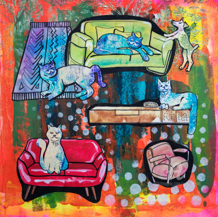 """Painting titled """"Pets life ( home st…"""" by Ariadna De Raadt, Original Art, Acrylic"""