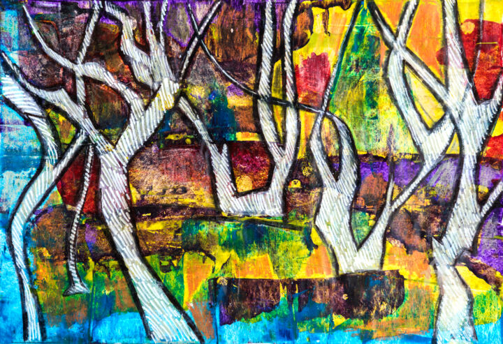 Summer Forest - Painting,  25x35x0 cm ©2016 by Ariadna De Raadt -                                            Abstract Expressionism, Nature, nature, forest, tree, summer, acrylic, landscape
