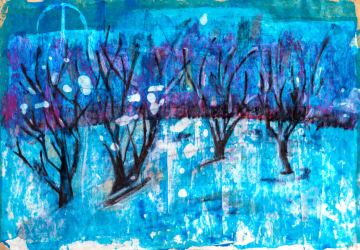 Winter Forest - Painting,  9.8x13.8 in, ©2016 by Ariadna De Raadt -                                                                                                                                                                                                                                                                                                                                                                                                                                                                                                                                                                                                                                                                                                                                                                          Abstract, abstract-570, Tree, Landscape, Nature, boom, bos, sneeuw, schemering, avond, forest, tree, snow, evening, landscape, twilight