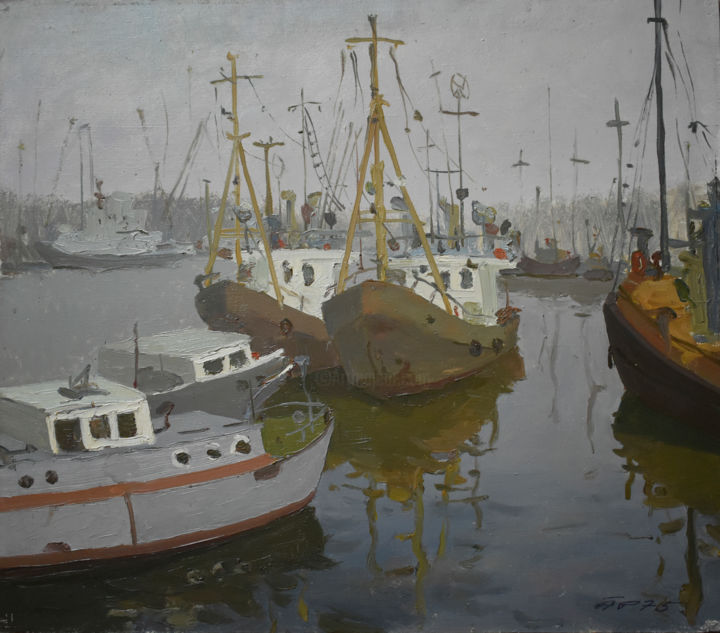 """Painting titled """"Boats Ships at Fish…"""" by Arija Paikule, Original Art, Oil Mounted on Stretcher frame"""