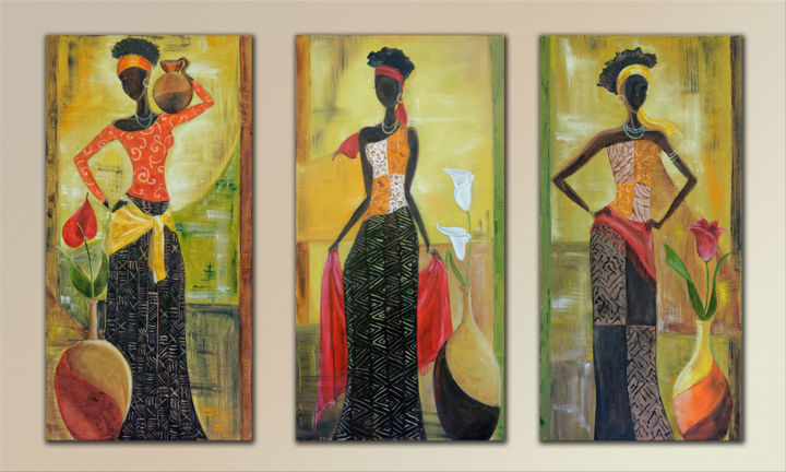 3filles-africa.jpg - Painting,  60x30x2 cm ©2017 by Arina Tcherem -                                                                                            Figurative Art, Naive Art, Colors, World Culture, Women, Travel, Afrique, femmes, orange, dessin