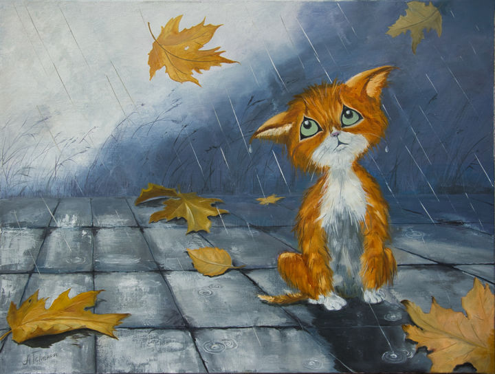 Chaton sous la pluie. - Painting,  18.1x24x1.2 in, ©2019 by Arina Tcherem -                                                                                                                                                                                                                                                                                                                                                                                                                                                                                                                                                                                                                                      Figurative, figurative-594, Animals, Cats, Cartoon, Seasons, Cities, Animaux;, Chat, Chaton, Pluie, Automne, Adoptez moi