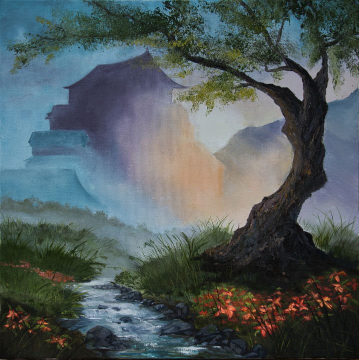 Le souffle d'un matin - Painting,  19.7x19.7x0.8 in, ©2020 by Arina Tcherem -                                                                                                                                                                                                                                                                                                                                                                                                                                                                                                                                                                                                                                                                                                                                                                                                                                                                  Figurative, figurative-594, Tree, Water, Fantasy, Light, Landscape, Asie, Paysage, Brouillard, Matin, Lumière, ruisseau, fleurs, Arbre, pagode, montagnes, forêt