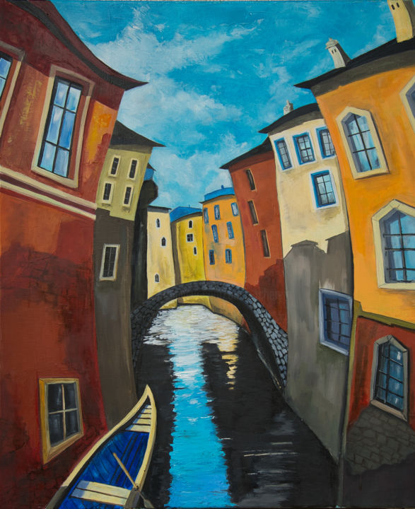 Venise - Peinture,  28,7x23,6x0,8 in, ©2020 par Arina Tcherem -                                                                                                                                                                                                                                                                                                                                                                                                          Naive Art, naive-art-948, artwork_cat.Colors, Fantastique, artwork_cat.Cityscape, artwork_cat.Cities, Venise, Ville