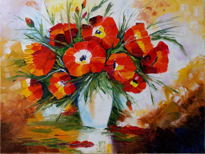 Coquelicots - Painting,  18.1x25.6 in, ©2007 by Arina Tcherem -                                                                                                                                                                                                                                                                                                                                                                                                                                                                                                                                                                                                                                                                                                                                                                          Impressionism, impressionism-603, Flower, Nature, fleur, flowers, coquelicots, poppys, nature, impressionnisme, couleurs, rouge, jaune, yellow, red, bouquet