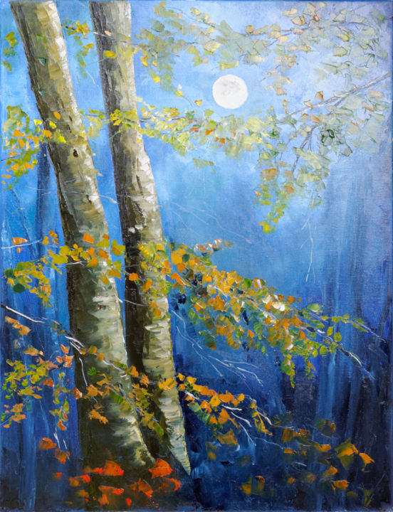 Pleine lune - Painting,  65x50x2 cm ©2015 by Arina Tcherem -                                                                                                            Impressionism, Canvas, Tree, Light, Nature, Landscape, Seasons, Lune, lumiere, nuit, arbre, moon, night, bleu, sombre, bleu paysage, saison, autumn, automne, nature