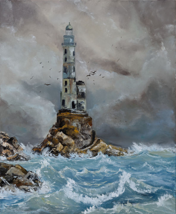 Lighthouse Aniva, island Sakhalin - ©  Lighthouse, phare, mer, seascape, roches, gris, marron, vagues, waves Online Artworks