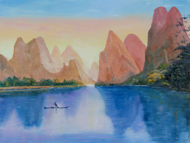 Li River - Painting,  46x61x2.5 cm ©2016 by Arina Tcherem -                                        Contemporary painting, Canvas