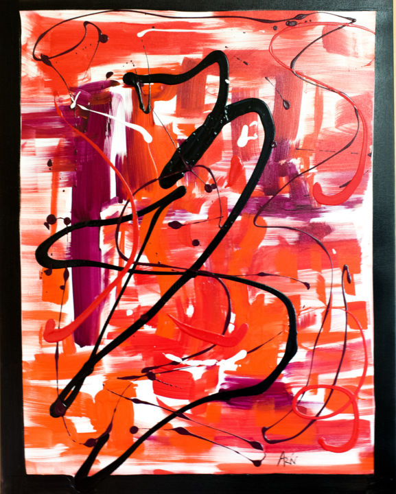Jackson Red - Painting,  90x70x2 cm ©2018 by Vincent ARIN -                            Abstract Art, Rouge, Noir, Mauve, Pollock, Expressionisme