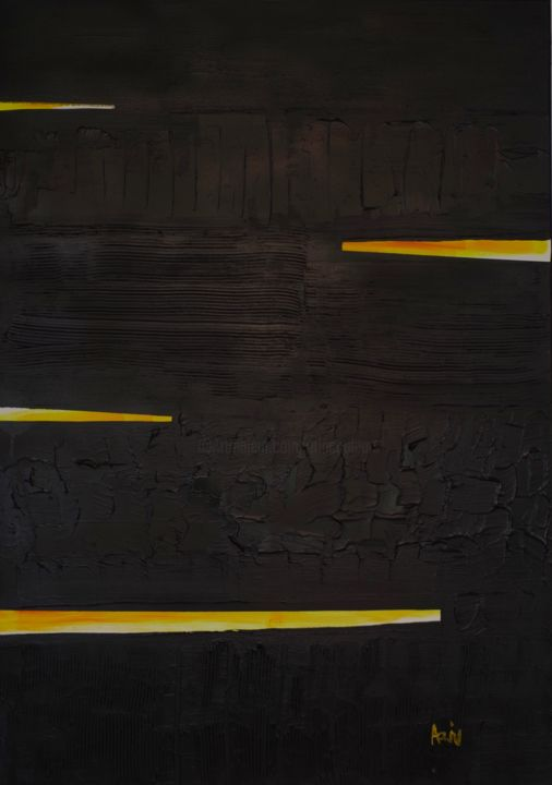 Noir et jaune - Painting,  120x80x2 cm ©2018 by Vincent ARIN -                            Abstract Art, Noir, Soulages, Textures, Jaune