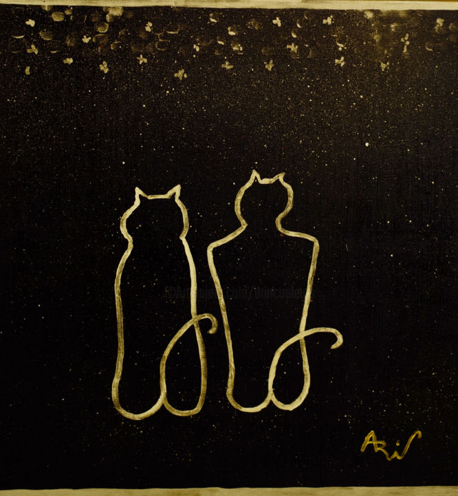Chats amoureux - Painting,  60x60 cm ©2017 by Vincent ARIN -                                            Abstract Art, Love / Romance, Chats, Etoiles, Amour