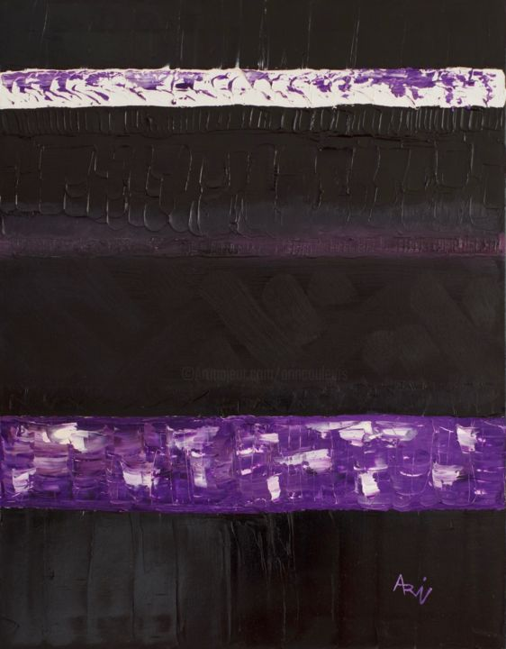 Noir et mauve - Painting,  35.4x27.6 in, ©2017 by Vincent Arin -                                                                                                                                                                                                                      Abstract, abstract-570, Noir, Mauve