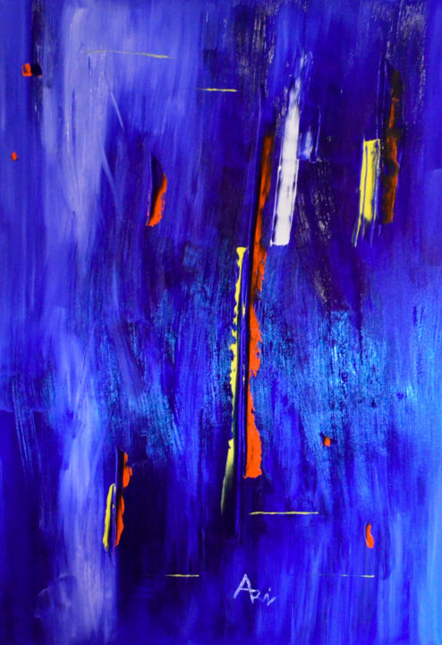 Verticalités - Painting,  100x70 cm ©2017 by Vincent ARIN -                            Abstract Art, Verticales, Bleu, primaires