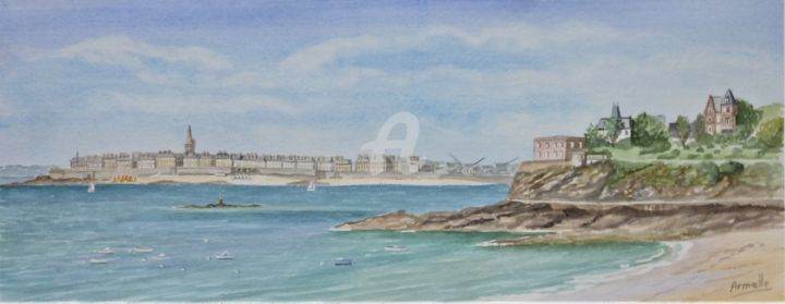 """Painting titled """"Dinard saint énogat…"""" by Armelle Cailly (Armelle), Original Art, Watercolor Mounted on Cardboard"""