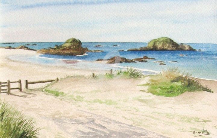 """Painting titled """"Iles des Chevrets à…"""" by Armelle Cailly (Armelle), Original Art, Watercolor Mounted on Cardboard"""