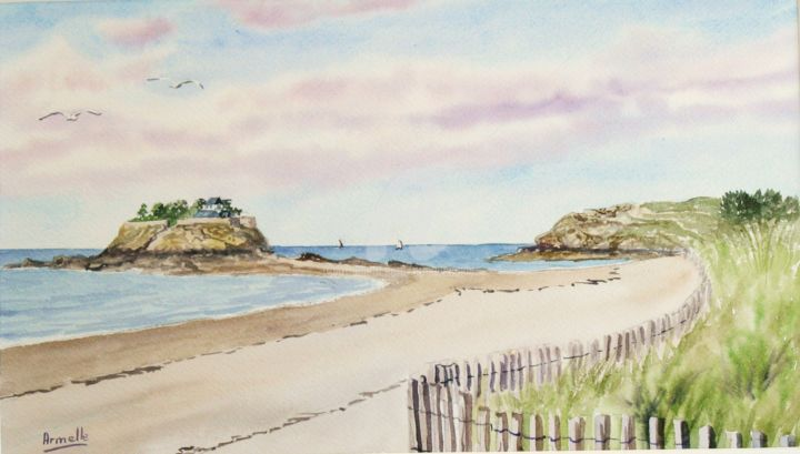 """Painting titled """"l'anse du Guesclin…"""" by Armelle Cailly (Armelle), Original Art, Watercolor"""