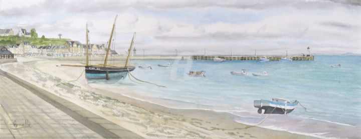 """Painting titled """"Cancale: la houle 1"""" by Armelle Cailly (Armelle), Original Art, Watercolor"""