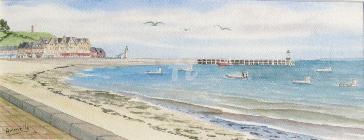 """Painting titled """"Cancale: la houle 2"""" by Armelle Cailly (Armelle), Original Art, Watercolor"""