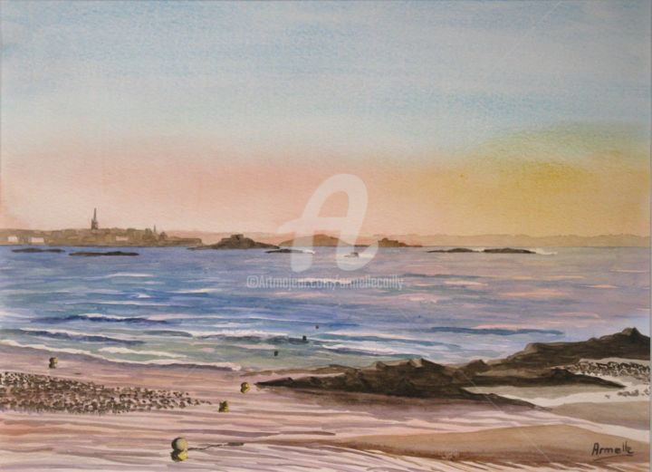 """Painting titled """"Saint Malo la plage…"""" by Armelle Cailly (Armelle), Original Art, Watercolor"""