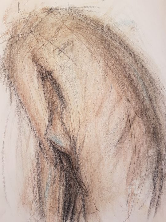 """Drawing titled """"Nude Back view"""" by Armin Abazari, Original Art, Pastel"""