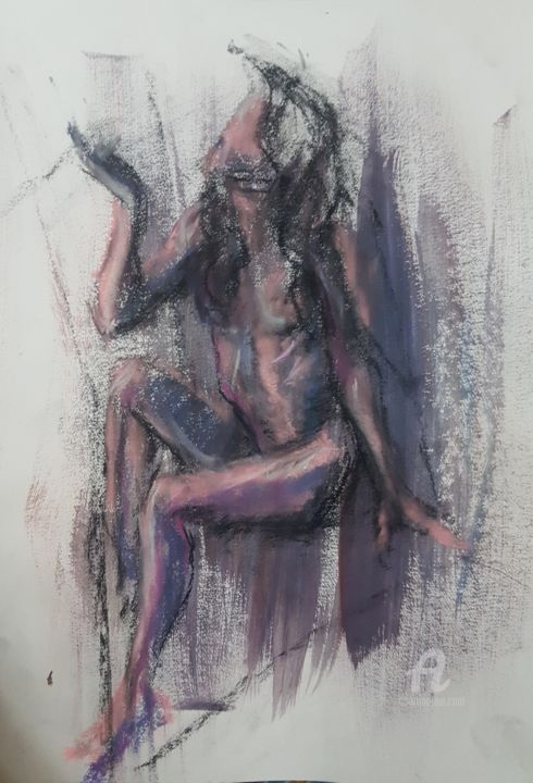 """Painting titled """"Sitting Nude girl"""" by Armin Abazari, Original Art, Pastel"""