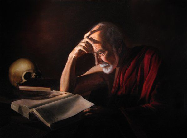 """Painting titled """"St. Jerome"""" by Eric Armusik, Original Art, Oil"""