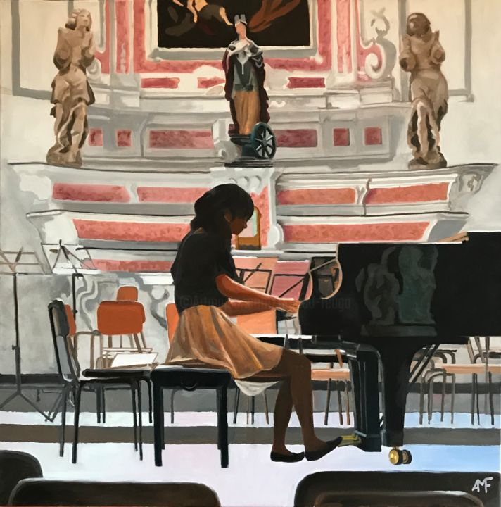 String rehearsal in Cervo 2 - Painting,  60x60x4 cm ©2017 by Arnaud Feuga -                                                            Figurative Art, Canvas, Music, Répétition, piano, Cervo, rehearsal