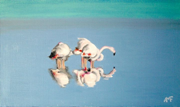 Flamants au repos - Peinture,  9,5x16,1x0,8 in, ©2006 par Arnaud Feuga -                                                                                                                                                          Animaux, Flamants roses, repos