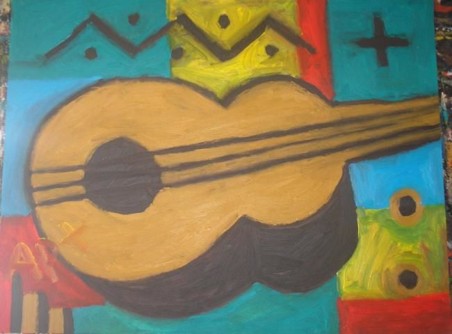 guitare - Painting,  65x50 cm ©2012 by Arnaud Pernin -