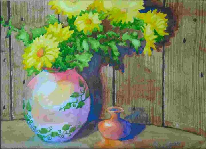 """Painting titled """"Daisies in colorful…"""" by Arnel Sarmiento, Original Art, Oil"""