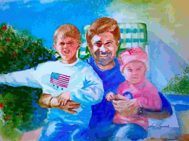 """Painting titled """"Bill and Kids"""" by Arnel Sarmiento, Original Art, Oil"""