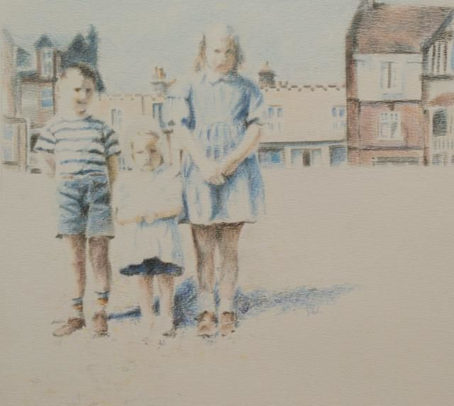 Three Kids in France - Drawing,  24x21 cm ©2012 by Arno.2 -            Three Kids In France