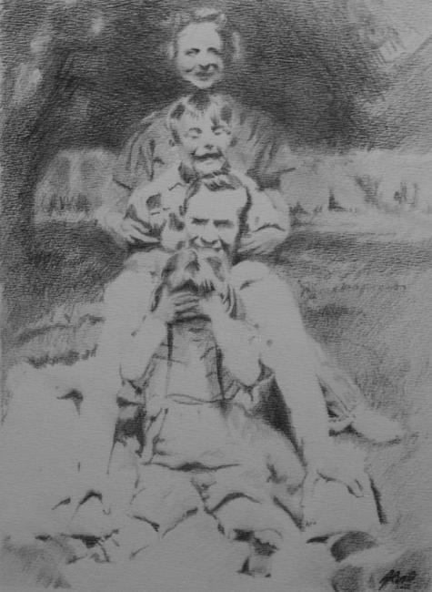 Famille Birgham - 1963 - Drawing,  23x17 cm ©2012 by Arno.2 -            Famille Birgham - 1963