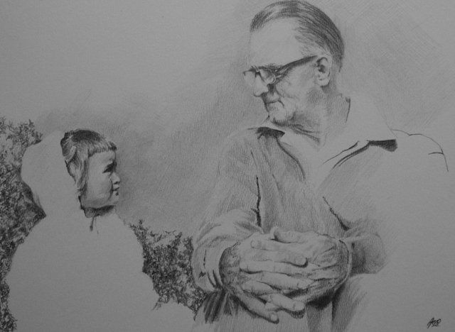 grampa and me - Drawing,  32x25 cm ©2012 by Arno.2 -            Grampa and me